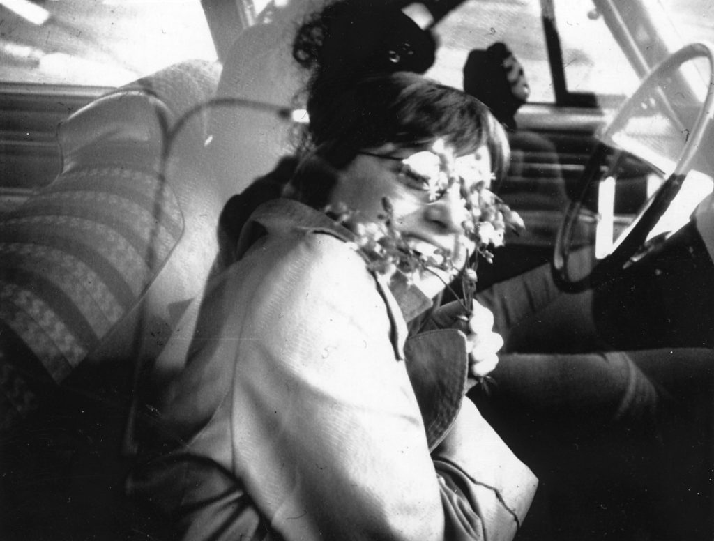 Susan in window of car en route to Toronto, 1970. Photo by and copyright © Andrew Porter